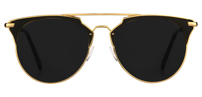 Gold Cat Eye Non Polarised Sunglasses for Women Jacky Front Angle