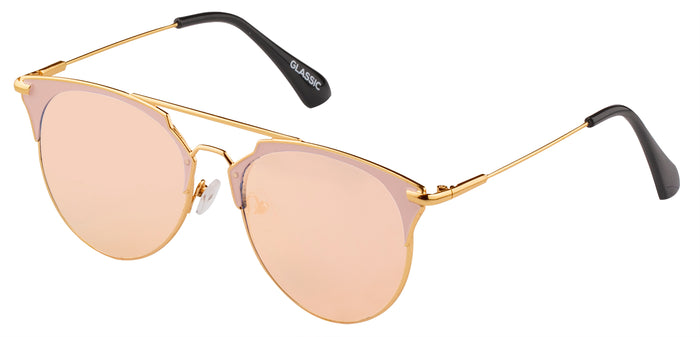 Rose Gold Cat Eye Non Polarised Sunglasses for Women Jacky Side Angle