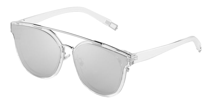 Crystal Silver Cat Eye Non Polarised Sunglasses for Women Julie Side Angle