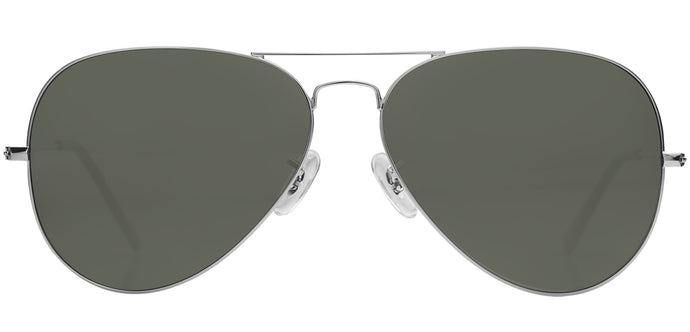 Silver Large Pilot Polarized Sunglasses For Men - Marty - Front Angle