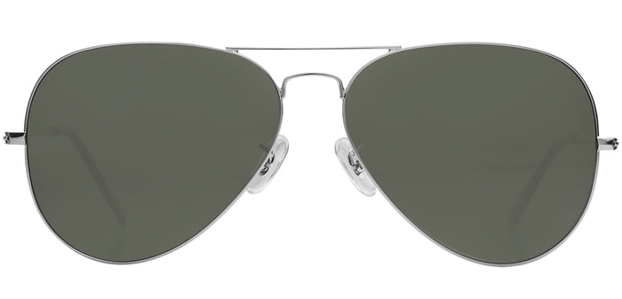 Silver Large Pilot Polarized Sunglasses For Women - Marty - Front Angle