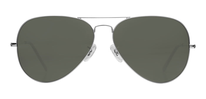 Silver Small Pilot Polarized Sunglasses For Men - Marty - Front Angle