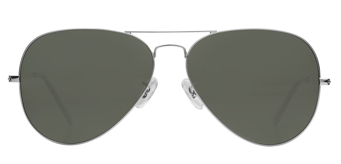 Silver Medium Pilot Polarized Sunglasses For Men - Marty - Front Angle