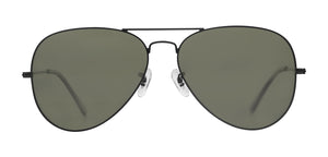 Midnight Black Small Pilot Polarized Sunglasses For Men - Marty - Front Angle