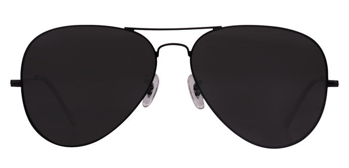 Midnight Black Medium Pilot Polarized Sunglasses For Men - Marty - Front Angle