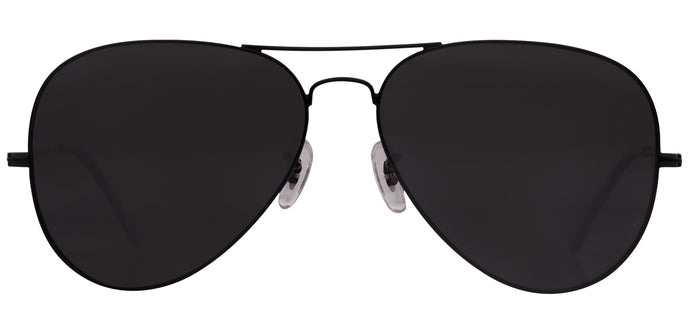Deep Black Large Pilot Polarized Sunglasses For Men - Marty - Front Angle