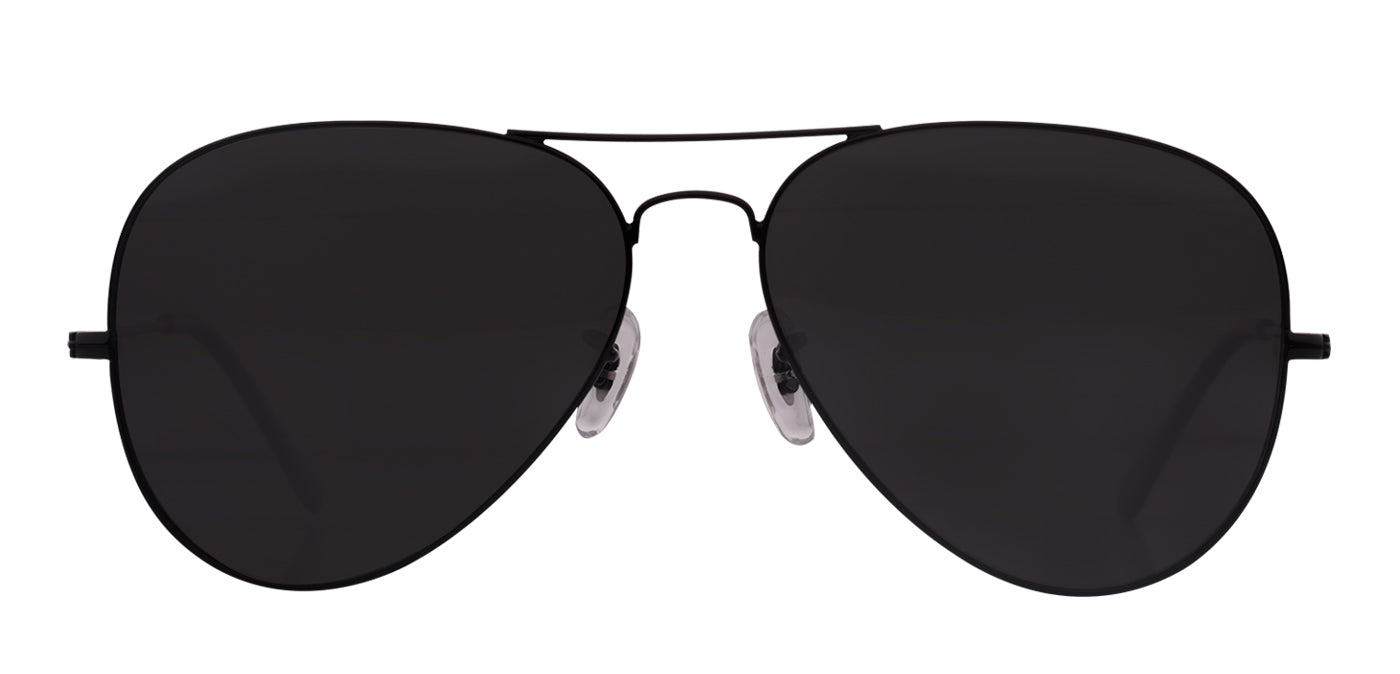 Deep Black Small Pilot Polarized Sunglasses For Women - Marty - Front Angle