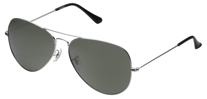 Silver Medium Pilot Polarized Sunglasses For Men - Marty - Side Angle