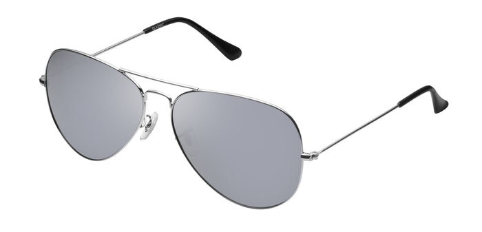 Bullet Silver Medium Pilot Polarized Sunglasses For Women - Marty - Side Angle