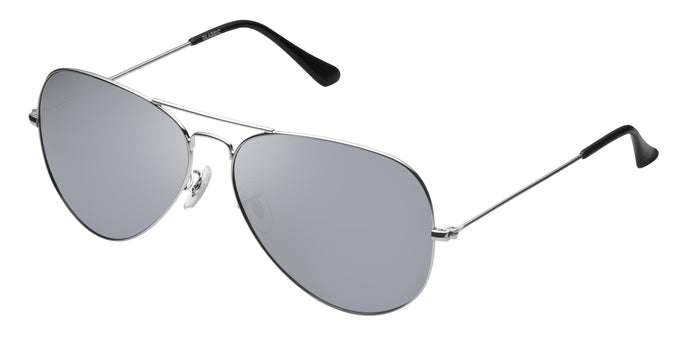 Bullet Silver Medium Pilot Polarized Sunglasses For Men - Marty - Side Angle