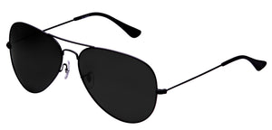 Deep Black Medium Pilot Polarized Sunglasses For Women - Marty - Side Angle