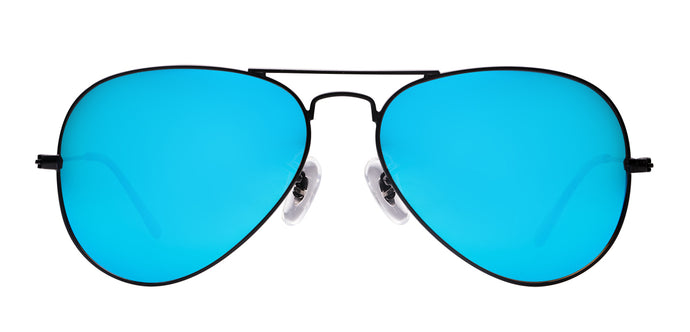 Pop Blue Small Pilot Polarized Sunglasses For Women - Marty - Front Angle