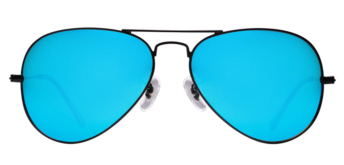 Pop Blue Pilot Polarized Sunglasses For Men - Marty - Front Angle