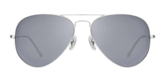 Bullet Silver Medium Pilot Polarized Sunglasses For Women - Marty - Front Angle
