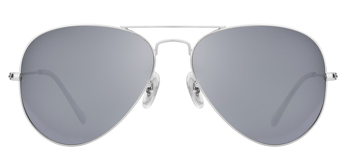 Bullet Silver Medium Pilot Polarized Sunglasses For Men - Marty - Front Angle