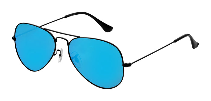 Pop Blue Small Pilot Polarized Sunglasses For Women - Marty - Side Angle