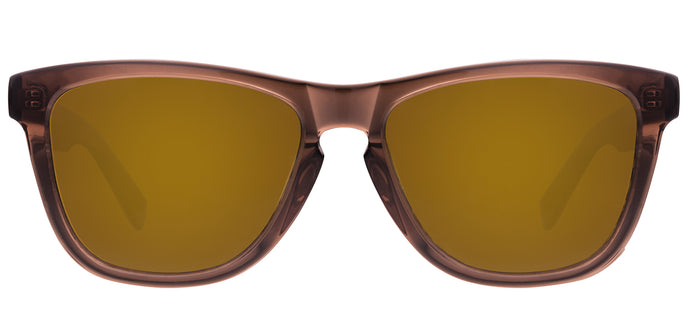 Brown Mirror Square Polarized Sunglasses for Women - Quad - Front Angle