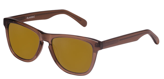 Brown Mirror Square Polarized Sunglasses for Women - Quad - Side Angle