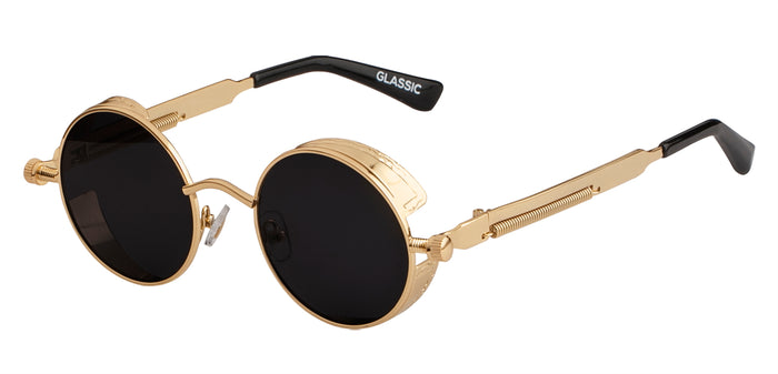 Gold Round Non Polarized Sunglasses For Men Riot Side View