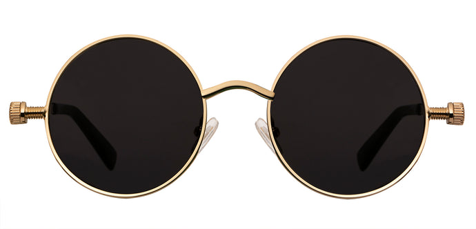 Gold Round Non Polarized Sunglasses For Women Riot Front View