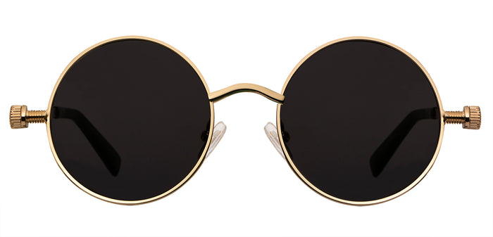 Gold Round Non Polarized Sunglasses For Men Riot Front View