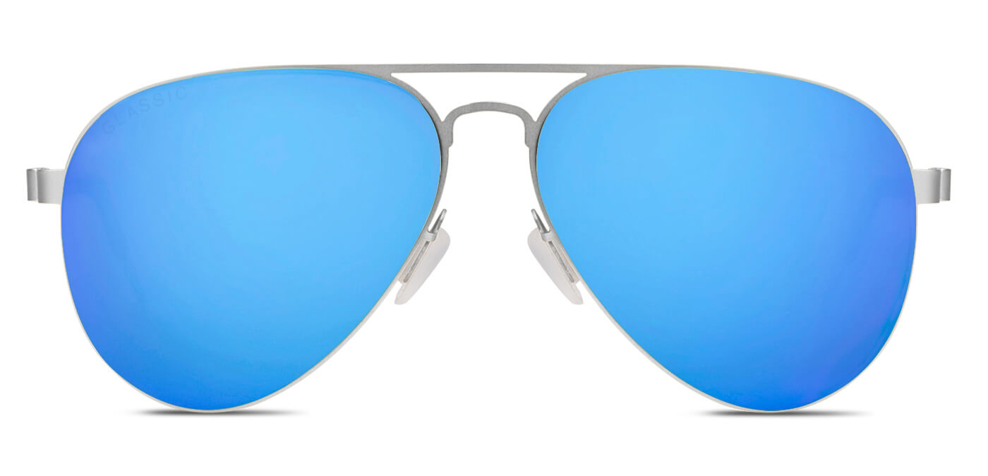 Aqua Blue Pilot Polarized Sunglasses for Men - Governor - Front Angle