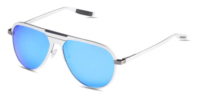 Aqua Blue Pilot Polarized Sunglasses for Men - Magneto - Side Angle