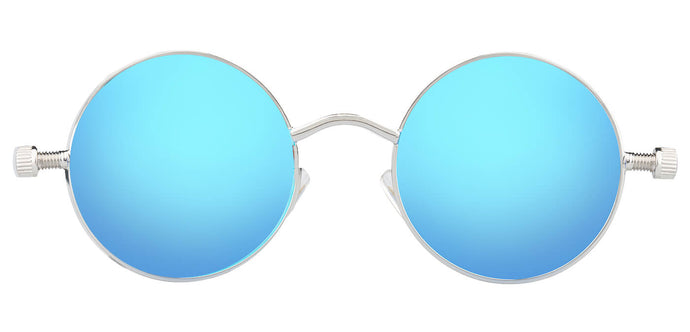 Aqua Blue Round Non Polarized Sunglasses For Men Riot Front