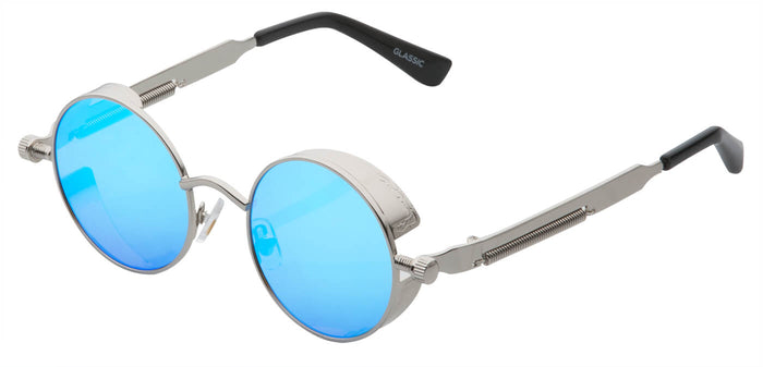 Aqua Blue Round Non Polarized Sunglasses For Men Riot Side