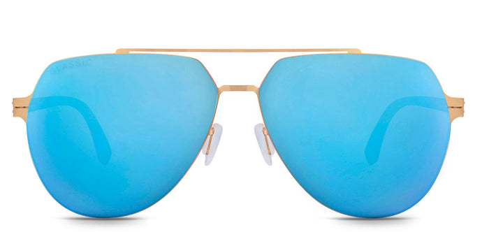 Beach Gold Pilot Polarized Sunglasses for Men - Cockpit - Front Angle