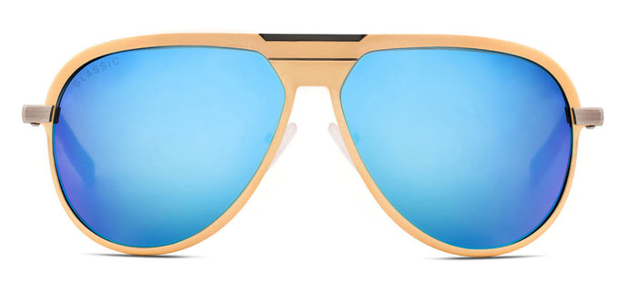 Beach Gold Pilot Polarized Sunglasses for Men - Magneto - Front Angle