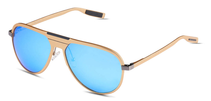 Beach Gold Pilot Polarized Sunglasses for Men - Magneto - Side Angle