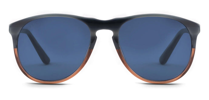 Blue Brown Stir Pilot Polarized Sunglasses for Men - Banner - Front Angle