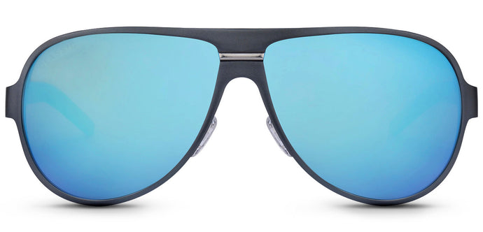 Blue Gun Pilot Polarized Sunglasses for Men - Convex - Front Angle