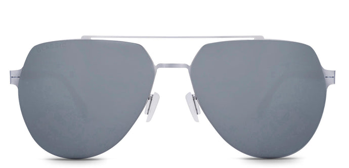 Bullet Silver Pilot Polarized Sunglasses for Men - Cockpit - Front Angle