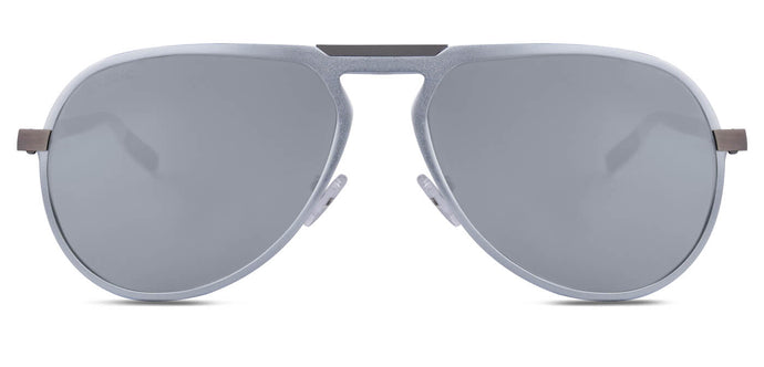 Bullet Silver Pilot Polarized Sunglasses for Men - Duke- Front Angle