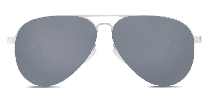 Bullet Silver Pilot Polarized Sunglasses for Men - Governor - Front Angle