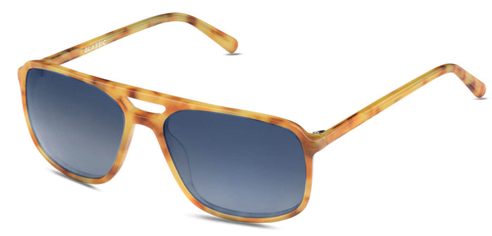 Caramel Blue Rectangle Polarized Sunglasses for Men - Pablo - Side Angle