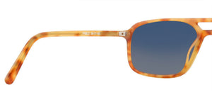 Caramel Blue Rectangle Polarized Sunglasses for Women - Pablo - Back Angle