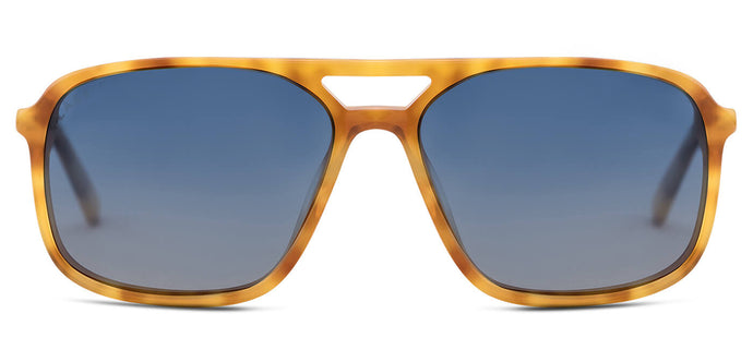 Caramel Blue Rectangle Polarized Sunglasses for Women - Pablo - Front Angle