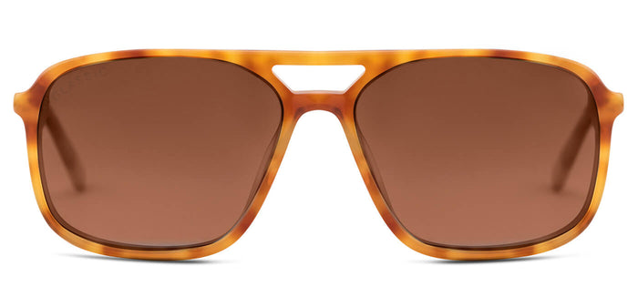 Caramel Crush Rectangle Polarized Sunglasses for Men - Pablo - Front Angle