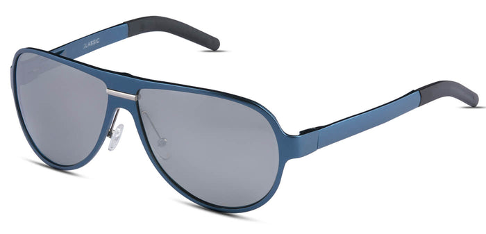 Chrome Blue Pilot Polarized Sunglasses for Men - Convex - Side Angle
