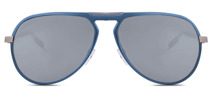 Chrome Blue Pilot Polarized Sunglasses for Men - Duke - Front Angle