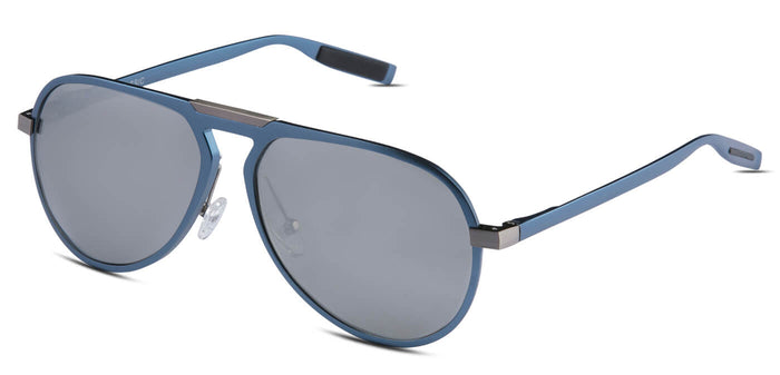 Chrome Blue Pilot Polarized Sunglasses for Men - Duke - Side Angle