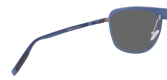 Chrome Blue Rectangle Polarized Sunglasses for Men - Marshal - Back Angle