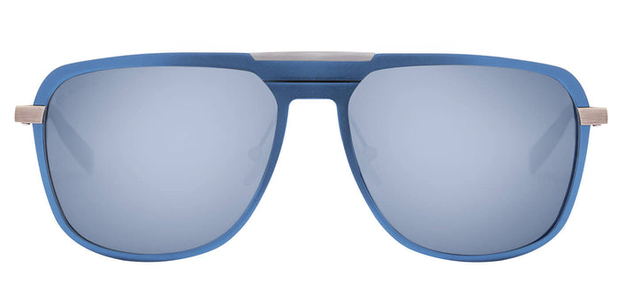 Chrome Blue Rectangle Polarized Sunglasses for Men - Marshal - Front Angle