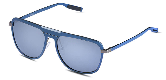 Chrome Blue Rectangle Polarized Sunglasses for Men - Marshal - Side Angle