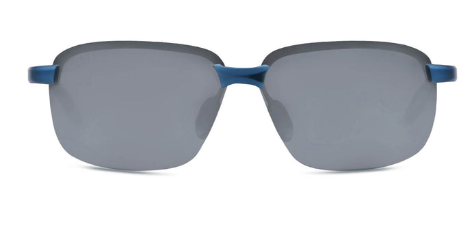 Chrome Blue Rectangle Polarized Sunglasses for Men - Crosswind - Front Angle