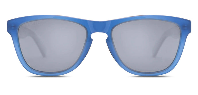 Chrome Blue Square Polarized Sunglasses for Men - Quad - Front Angle