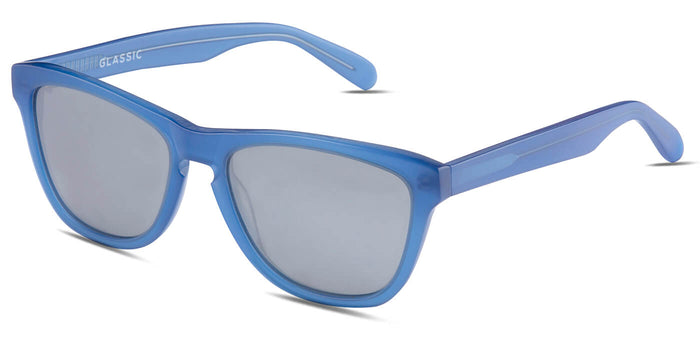 Chrome Blue Square Polarized Sunglasses for Men - Quad - Side Angle